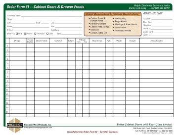 Order Form #1 -- Cabinet Doors & Drawer Fronts Order Form #1 ...