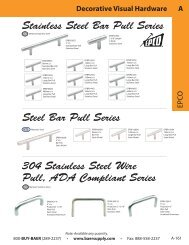 Stainless Steel Bar Pull Series - Baer Supply Company