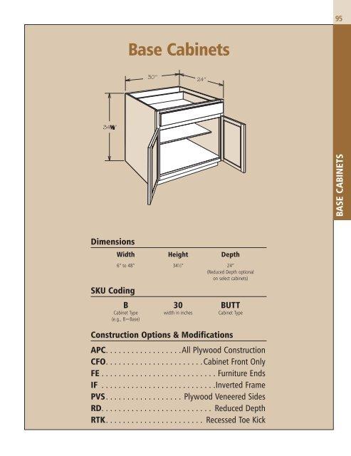 Base Cabinets Shenandoah Cabinetry, Shenandoah Kitchen Cabinets Specs