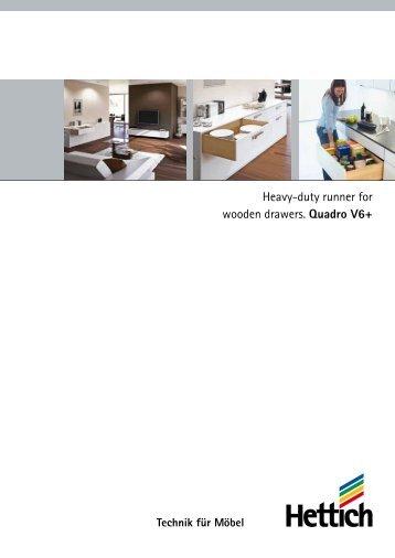 Heavy-duty runner for wooden drawers. Quadro V6+ - Hettich