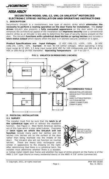 single door unl 24 and point to point monitoring wiring diagram rh yumpu com Aiphone Intercom Wiring-Diagram Lockout Relay Wiring Diagram