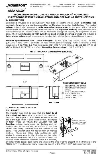 single door unl 24 and point to point monitoring wiring diagram unl 12 24 series installation instructions securitron magnalock