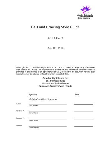 CAD And Drawing Style Guide   Canadian Light Source