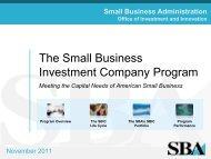 SBIC Program Overview - SBA