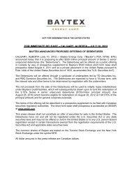 Baytex Announces Proposed Offering of Debentures