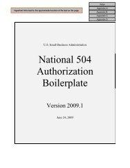 National 504 Authorization Boilerplate - SBA.gov