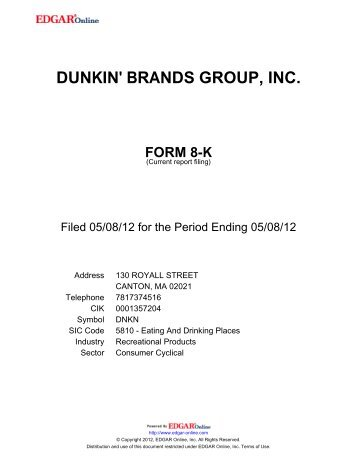 DUNKIN' BRANDS GROUP, INC. - Corporate Solutions