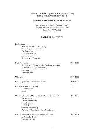 Beecroft, Robert M. - Association for Diplomatic Studies and Training