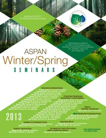 ASPAN 2013 WinterSpring Brochure - CBSPAN