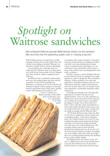 Spotlight on Waitrose sandwiches - Nellie Nichols
