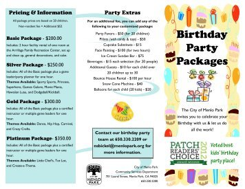 Birthday Party Packages - the City of Menlo Park