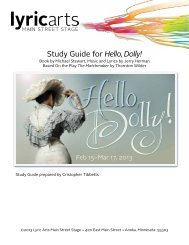 the Hello, Dolly! Study Guide - Lyric Arts Main Street Stage
