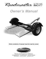 Owner's Manual - Roadmaster Inc.