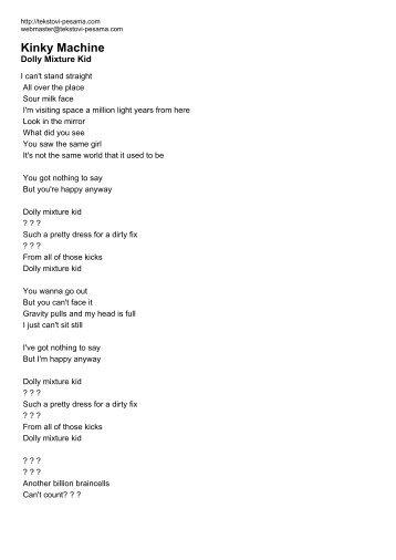 Kinky Machine - Tekstovi pesama