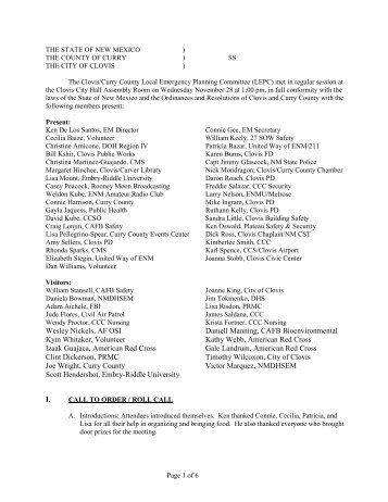 Minutes from the November 28, 2012 Meeting - City of Clovis, New ...