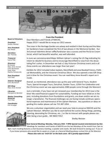 2013 Winter Newsletter - Upham Mansion