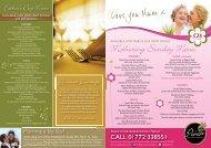 Mothering Sunday Menu - The Pines Hotel