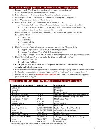 The Quick n' Dirty 1-page How To Create Remedy Change Request ...