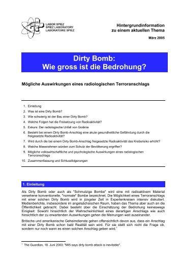 """Hintergrundinformation """"dirty bomb"""" (pdf-file, 206 kb) - Labor Spiez"""