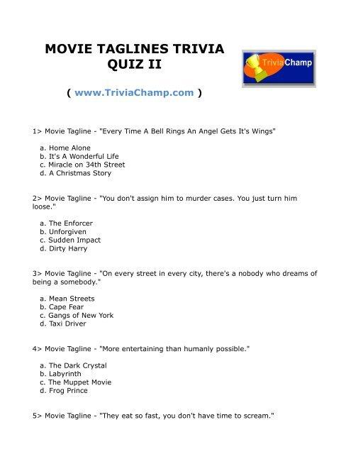 MOVIE TAGLINES TRIVIA QUIZ II - Trivia Champ