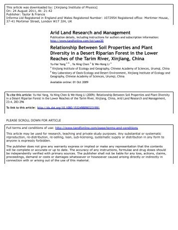 Relationship Between Soil Properties and Plant Diversity in a Desert ...