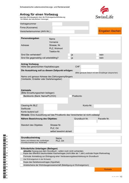 Bvg Vorbezugsantrag Wohneigentum Pfcagch