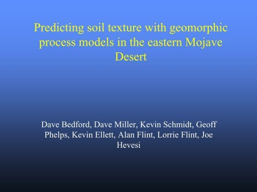 Predicting soil texture with geomorphic process models in the ...
