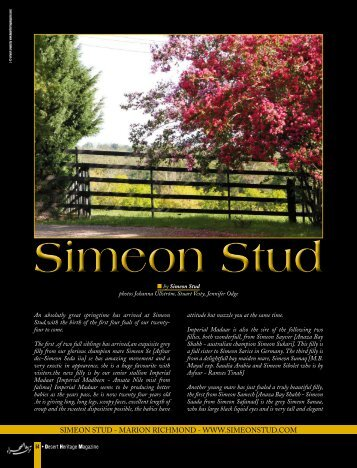 Simeon Stud - Desert Heritage Magazine