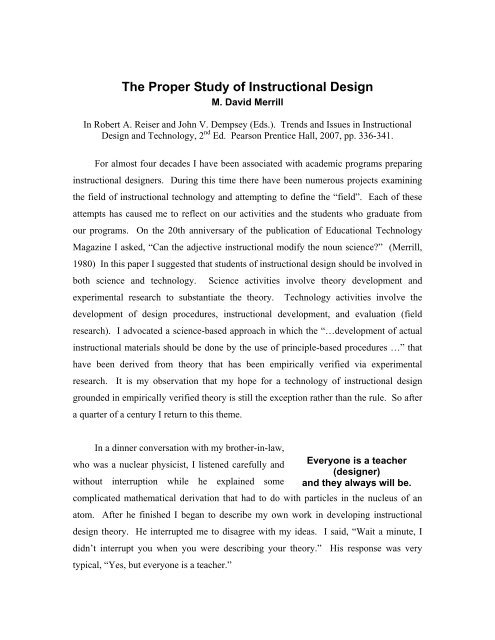 The Proper Study Of Instructional Design M David Merril
