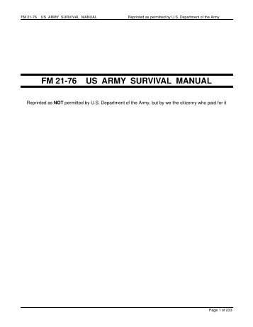 FM 21-76 US ARMY SURVIVAL MANUAL - AR15.com