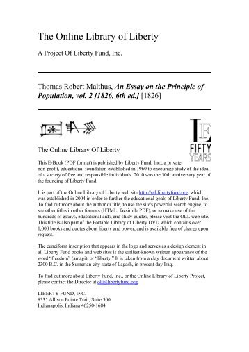 an essay on the principle of population esp electronic  online library of liberty an essay on the principle of population