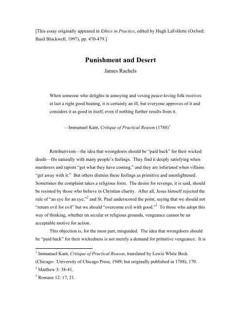 Punishment and Desert