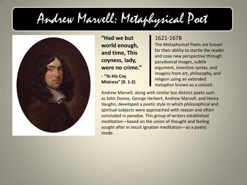 Andrew Marvell: Metaphysical Poet