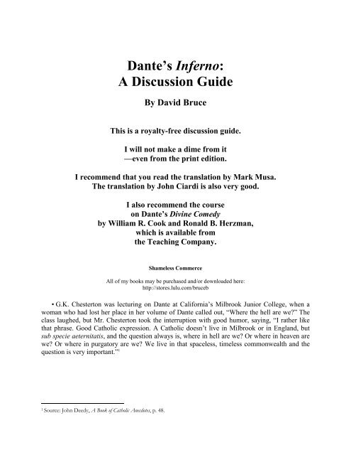 Dante S Inferno A Discussion Guide By David Bruce