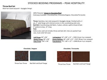 See our Stocked Bedding Programs - Peak Hospitality