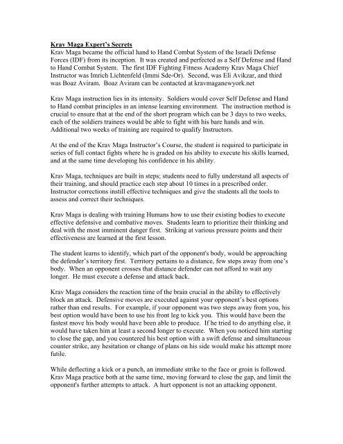 Krav Maga Top Expert Secrets PDF - Krav Maga New York