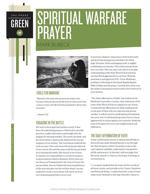 Spiritual Warfare Prayer - Cru Press Green