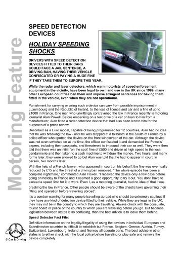 speed detection devices holiday speeding shocks - Car & Driving