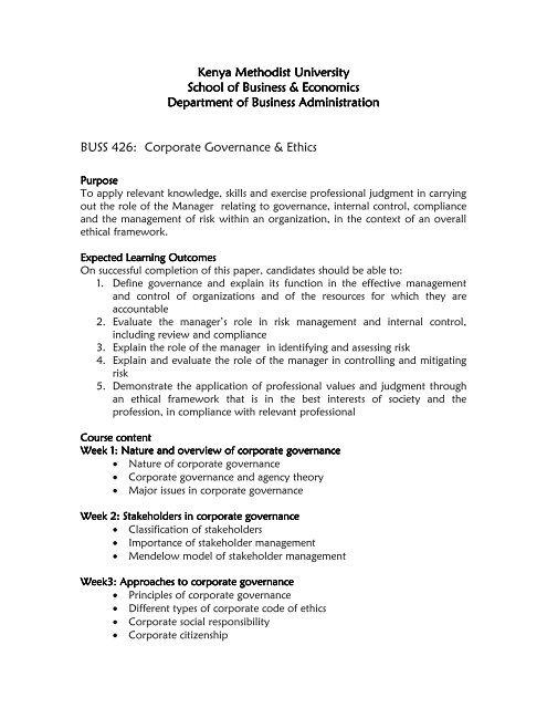BUSS 426-ADDITIONAL NOTES - Kenya Methodist University