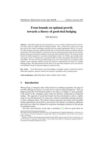 From bounds on optimal growth towards a theory of good-deal ...