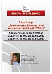 Speakers Excellence Seminar München, 19.04. bis 20.04.2013 ...