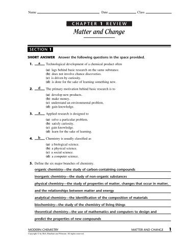 Composition of matter worksheet section 2 1