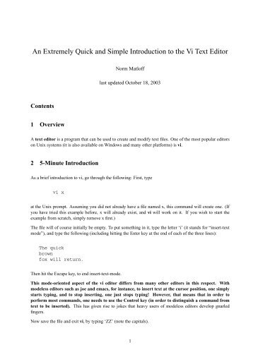 An Extremely Quick and Simple Introduction to the Vi Text ... - matloff