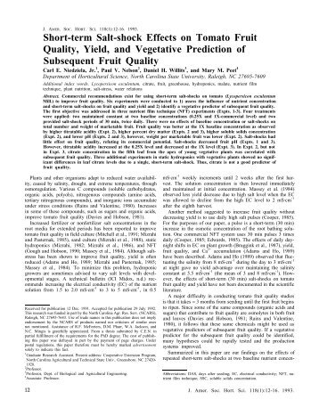 Short-term Salt-shock Effects on Tomato Fruit - Journal of the ...