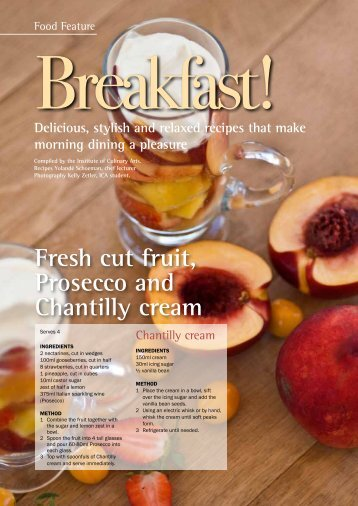 Fresh cut fruit, Prosecco and Chantilly cream - SACA