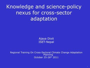 Knowledge and science-policy nexus for cross-sector adaptation