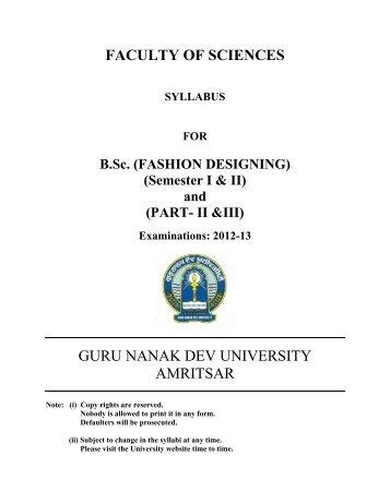 (FASHION DESIGNING) (Semester I & II) - Guru Nanak Dev University