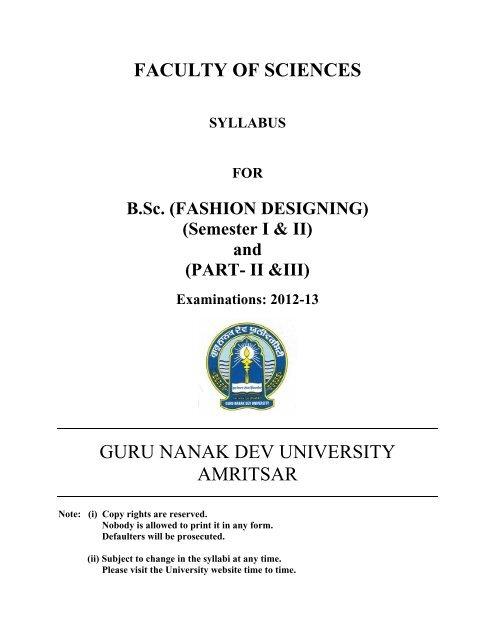 Fashion Designing Semester I Ii Guru Nanak Dev University
