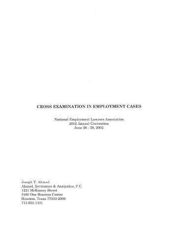 cross examination in employment cases - Ahmad, Zavitsanos ...