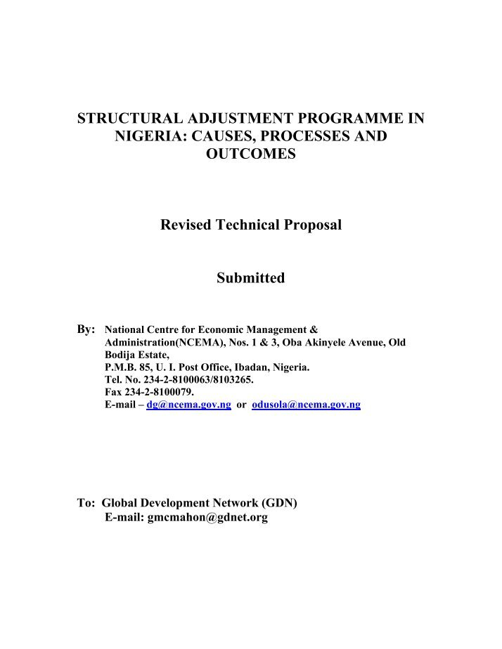 structural adjustment programme and the nigerian Nigeria - structural adjustment program : policies, implementation, and impact (english) abstract under the structural adjustment program (sap) introduced in 1986, nigeria reformed its foreign exchange system, trade policies, and business and agricultural regulations.